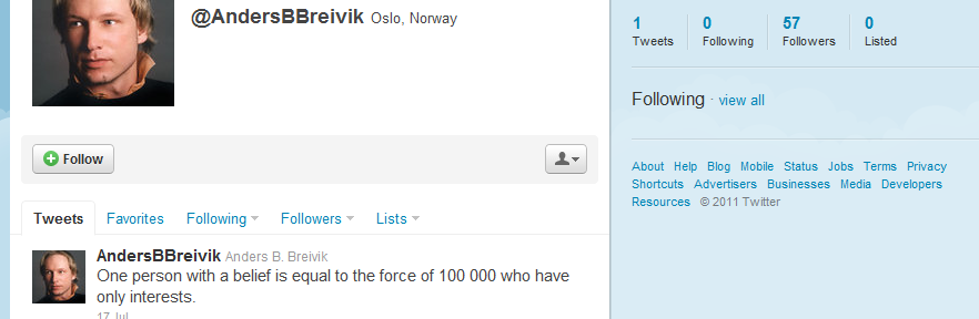Anders Behring Breivik | Probable facebook/twitter pages of Oslo bomber/gunner